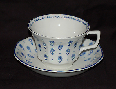 One Adams China Cup and Saucer Set  Daisy Blue and White  Great Shape