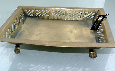 """small SOLID brass heavy BOWL tray decoration antique hand made rectangle  8"""" old"""