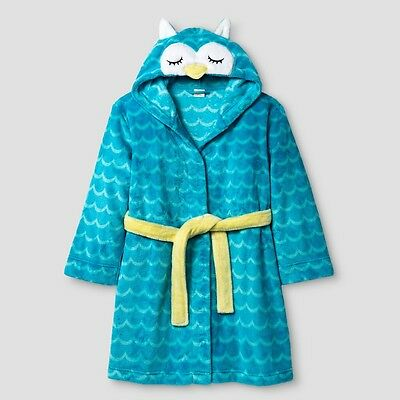 Hooded Robe Owl Girls Boys Kids Turquoise Cat & Jack NWT Bathtime Costume M 6-8