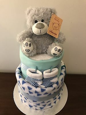 Two Tier Baby Boy Nappy Cake