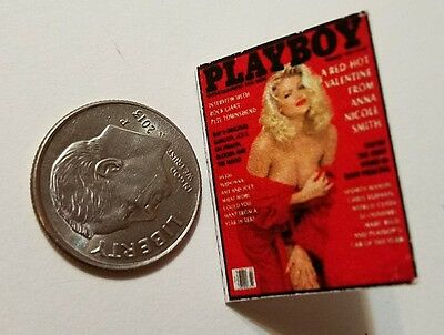 "Miniature Dollhouse book magazine 1"" 1/12 scale Playboy Anna Nicole Smith Red"