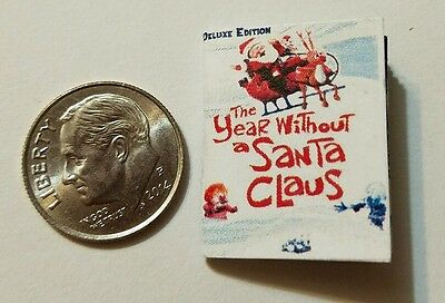 Miniature dollhouse twas night before Christmas Santa Rudolph book Barbie 1//12