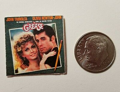 "Dollhouse Miniature Record Album 1"" 1/12 scale Barbie  Grease Travolta"