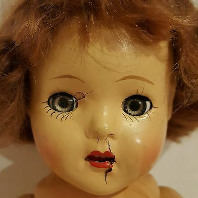 Creepy Antique jointed Composition  Doll