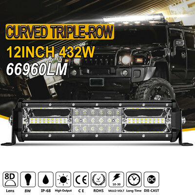 12Inch 324W Cree Led Light Bar Spot Flood Offroad Work Driving Lamp Truck 4WD 14