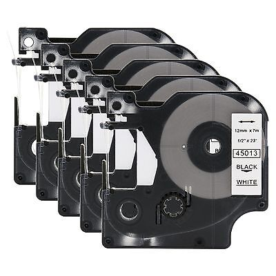 5 Compatible DYMO D1 LabelManager 45013 S0720530 Black on White Label Tape