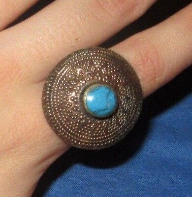 "Ring Circle Afghan Kuchi Tribal Alpaca Silver 1"" Size 8 to 9"