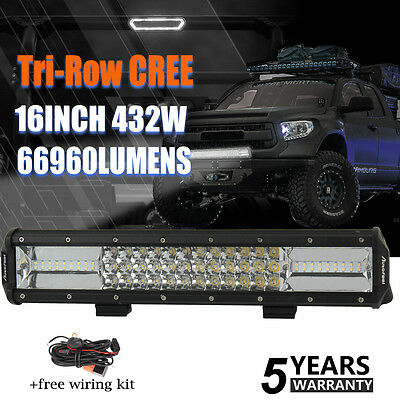 16Inch 432W Cree Led Light Bar Spot Flood Offroad Work Driving Lamp Truck 4WD 17