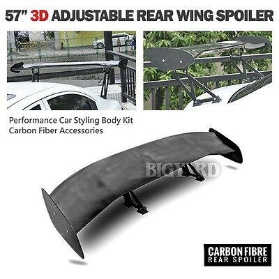 "57"" Universal Styling Body Kit GT 3D Carbon Fiber Adjustable Rear Wing Spoiler"