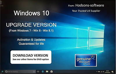 Win 10 UPGRADE for Win 7 or 8 - Microsoft Software by Email - Legal Licence