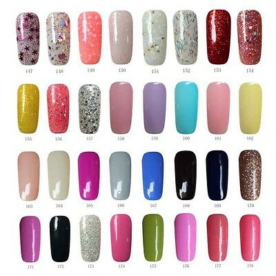 AU 178 Colors Soak Off UV LED Color Gel Polish Nail Art Top Base Foundation Coat