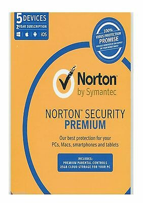Norton Security Premium Symantec 5 devices 2 Yr PC Mac Android BRAND NEW SEALED