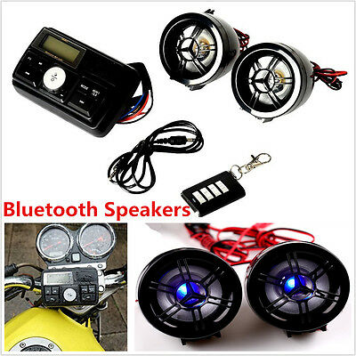 Motorcycle Wireless Bluetooth Anti-theft MP3 USB SD Music Audio Stereo Speakers