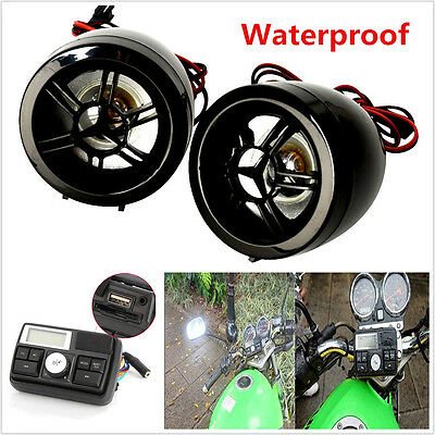 Anti-Theft Motorcycle Bluetooth Audio Amplifier Stereo MP3 USB FM Radio Speaker