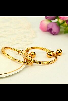 UK 1*18k gold filled BABY BANGLE anklet daughter brand GIRL 0-6age birthdat GIFT