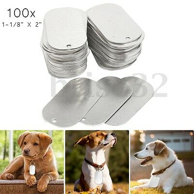 100x Gloss Coat Process Sliver Aluminum Dye Sublimation Dog Tag Blanks Thick 5mm