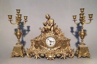 XIX Century Antique Figural Clock with Candelabras