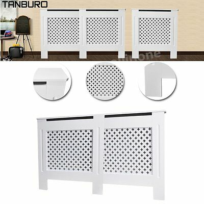 Modern Home White Painted MDF Wood Cross Style Radiator Cover Cabinet Furniture