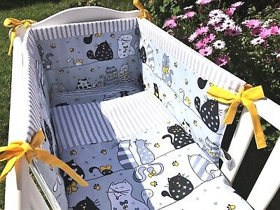 crib, cot bedding set grey and yellow cats and kittens made to order 100%cotton