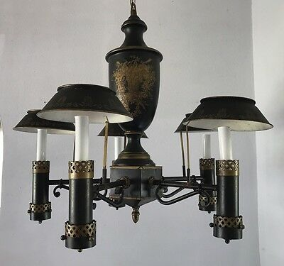 Antique Italian Hand Painted Tole Chandelier Black And Gold