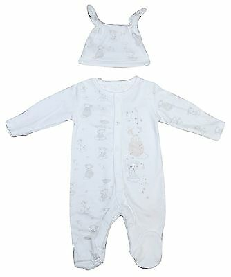 Baby Boy Girl Unisex 2 PIECE Sleepsuit Hat Set Ex Chain Tiny Baby upto 6 Months