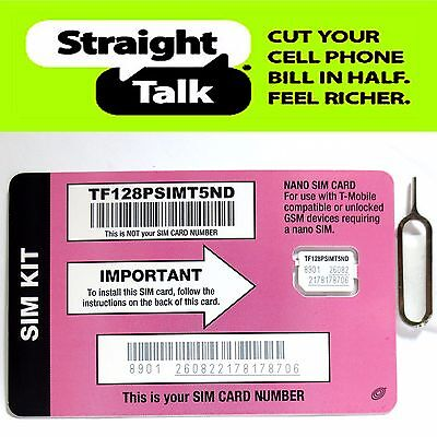 Straight Talk Nano SIM Card for T-Mobile Tower GSM Network Activation Kit