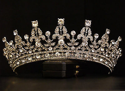 Vintage Design Ornate Crystal Royal Queen Princess Crown Tiara