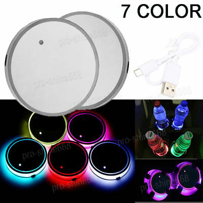2PCS RGB Color Car Cup Holder Bottom Pad Mat Cover Trim LED Light USB For Mazda