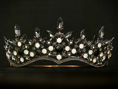 Antique Vintage Design Black Grey Opal Royal Crystal Crown Tiara Bridal Wedding