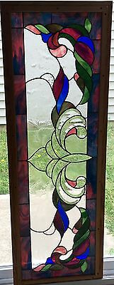 "Window Panel Vintage Victorian Design 16"" W X 47"" L Tiffany Style Stained Glass"
