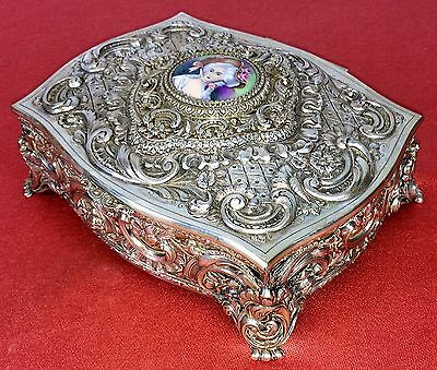 Jewelry Box. Chiseled Silver. Punched. Enamel. Spain. Circa 1920