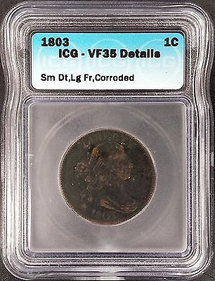 1803 Draped Bust, Sm Date, Lg Fraction Large Cent, VF 35 Details by ICG!