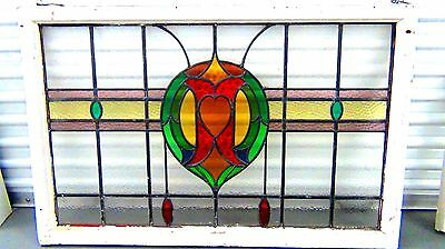 1920's Architectural Antique Victorian Leaded Stained Glass Window Panel