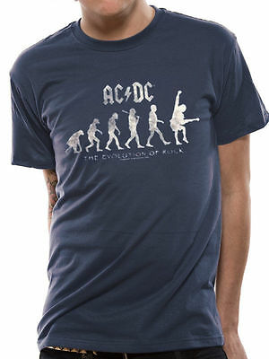 AC/DC T Shirt Mens Blue EVOLUTION OF ROCK Officially Licensed Rock Merch NEW