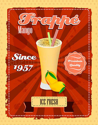 Frappe Mango  Large Metal Tin Sign Poster Vintage Style Plaque