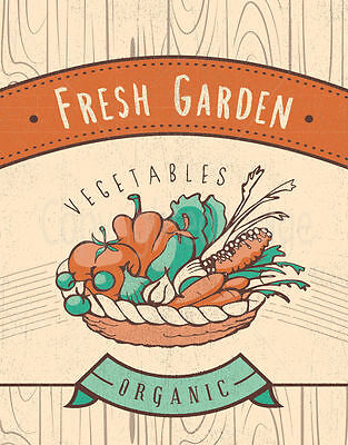 Fresh Garden Vegetables Large Metal Tin Sign Poster Retro Vintage Style Plaque