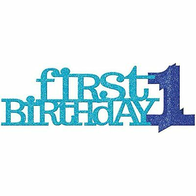 AMSCAN Centrotavola in carta First Birthday, colore: blu con brillantini (H3N)