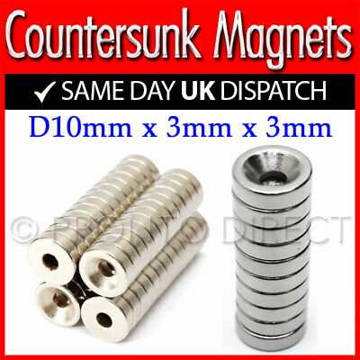 Neodymium Countersunk Ring Magnets *10mm x 3mm x 3mm* N35 Strong Disc Rare Earth