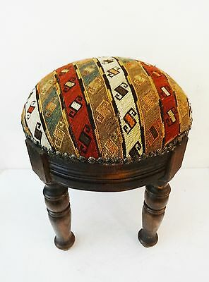 Round Stool upholstered w/ antique 19th century Tribal Azeri Fragment Karabagh