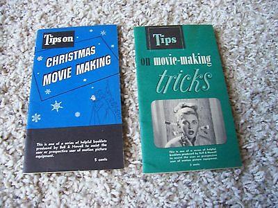 Pair of 2 Vintage 1950 Bell & Howell Movie Camera Tips Tricks Guide Booklet