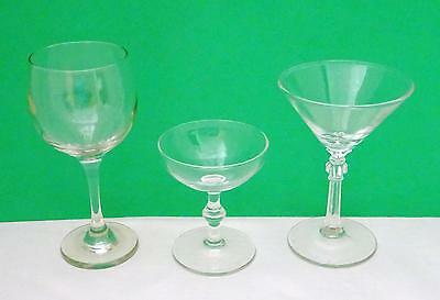 Assortment of Three Clear Stemmed Glasses Cocktail, Martini, Brandy, or Wine