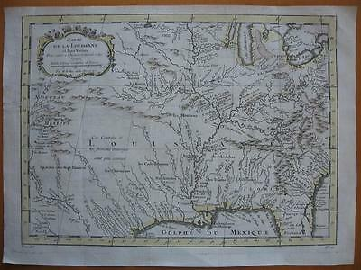 1757 - BELLIN - Map LOUISIANA  TEXAS  N. MEXICO  MISSISSIPPI & MISSOURI Rivers
