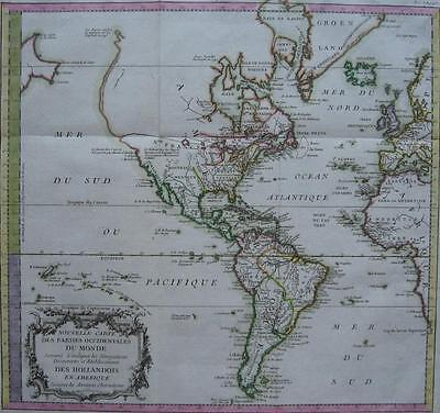 1787 - De PRETOT - Map AMERICA with Dutch discoveries and settlements