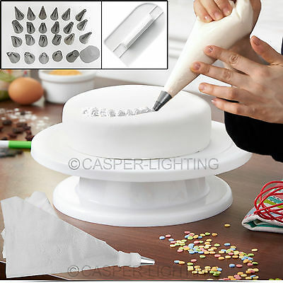 Turntable Cake Deocrating Stand Rotating Revolving Cake Smoother Icing Baking Uk