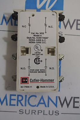 Cutler Hammer W22 Model A 1A48174G07 Auxiliary Contact - USED