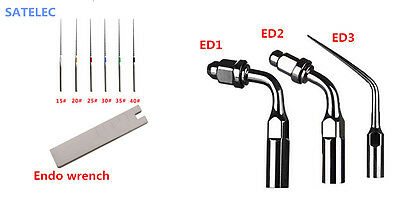 Dental Ultrasonic Endodontic Tips Set ED1 ED2 ED3 Ufile + wrench for SATELEC DTE