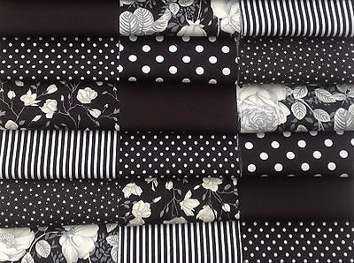 """Fabric patchwork squares 30 x 4""""  10cm cotton quilting craft black And white N"""