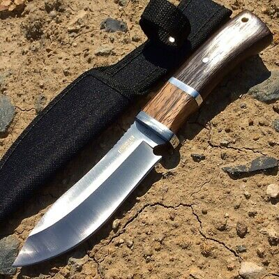 "Defender Xtreme 9.5"" Hunting Knife Silver Stainless Steel Brown Wood Handle with"