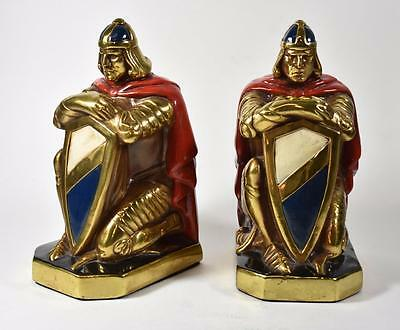 Pair Of Antique Knight Bookends Crusaders - King Arthur
