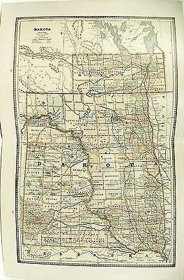 c 1890 Map of Dakota by Cram ~ Color Lithograph Engraving + MN & NC